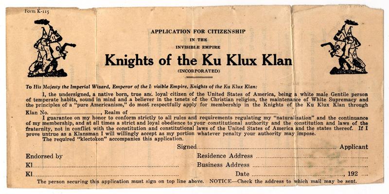 Letterhead for Ku Klux Klan