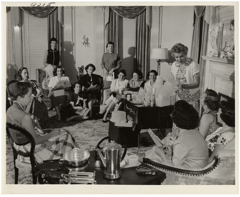 Photograph of Brownie Wise leading a Tupperware party
