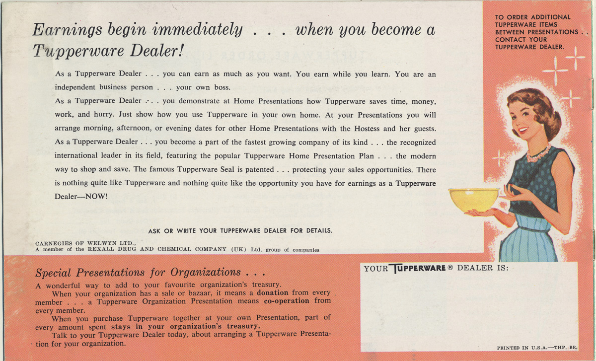 Scan of Tupperware Brochure with text and cartoon image of a suburban housewife