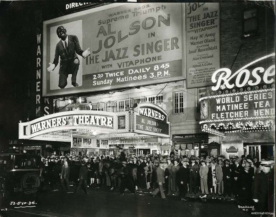 Marquis of Warners' Theatre announcing 'Al Jolson in The Jazz Singer'