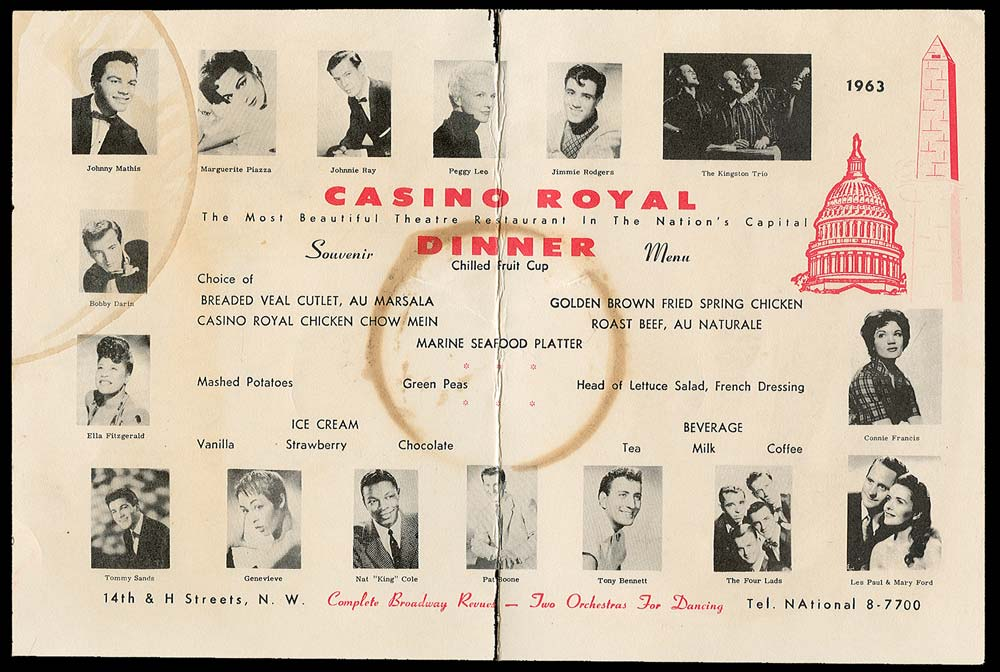 Dinner theater menu featuring performers such as Johnny Mathis, Peggy Lee, and Ella Fitzgerald