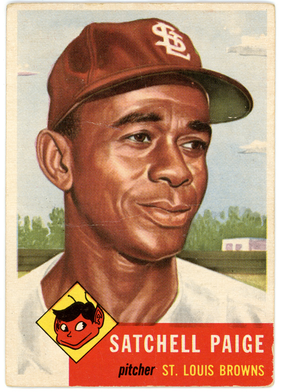 Satchel Paige baseball card with large illustration of Paige