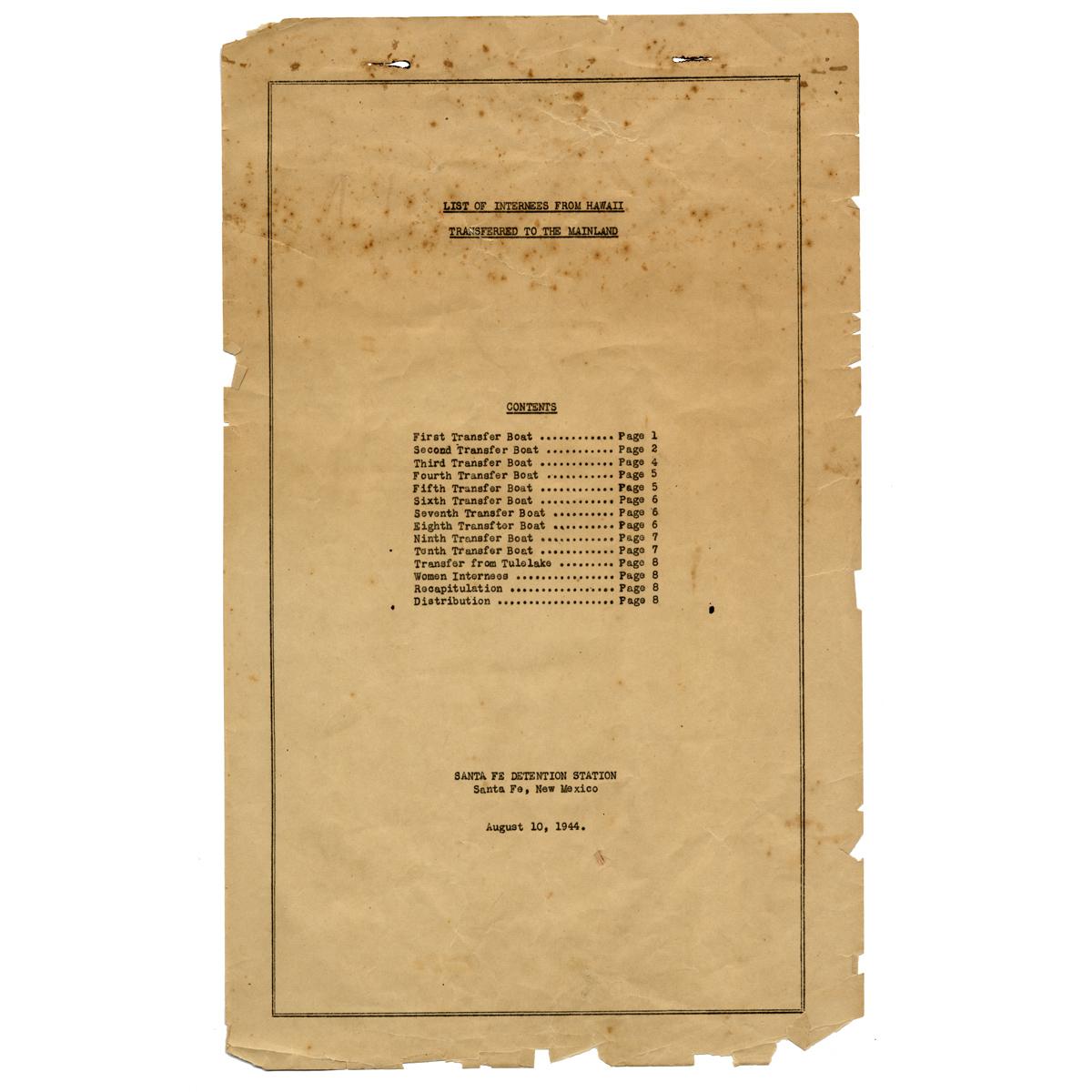 List of internees from Hawai'i, 1944