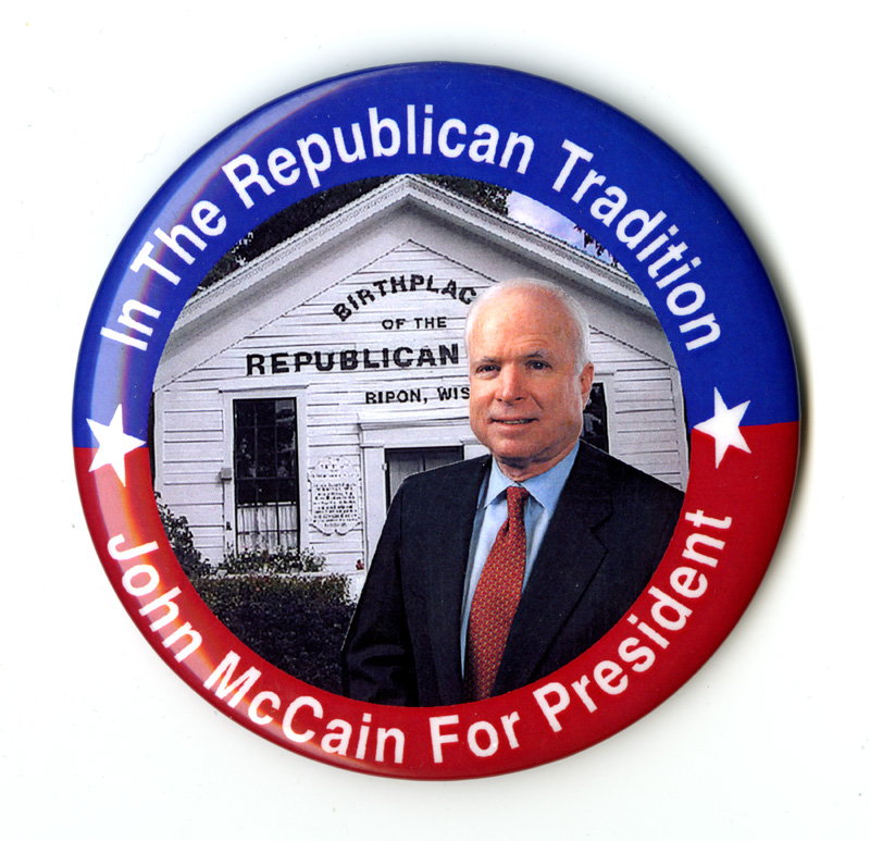 "Button with photograph of John McCain and text, ""The Republican Tradition"""