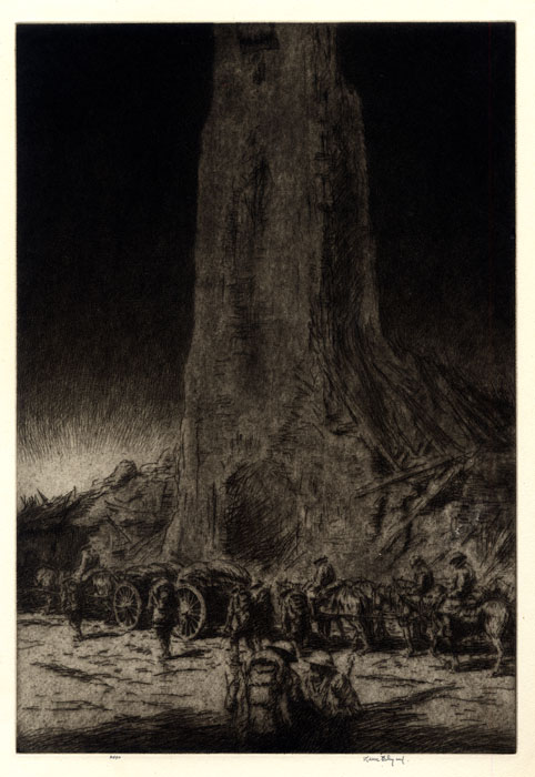 An etching of soldiers marching by a large rock.