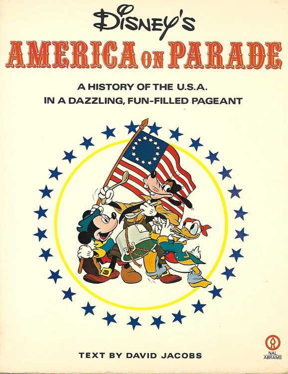 Book cover shows Disney performers in costume on a patriotic float