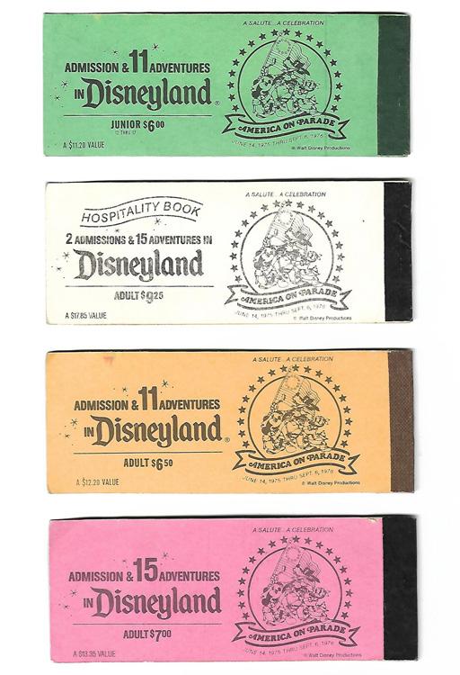 Green, white, orange, and pink tickets to Disneyland