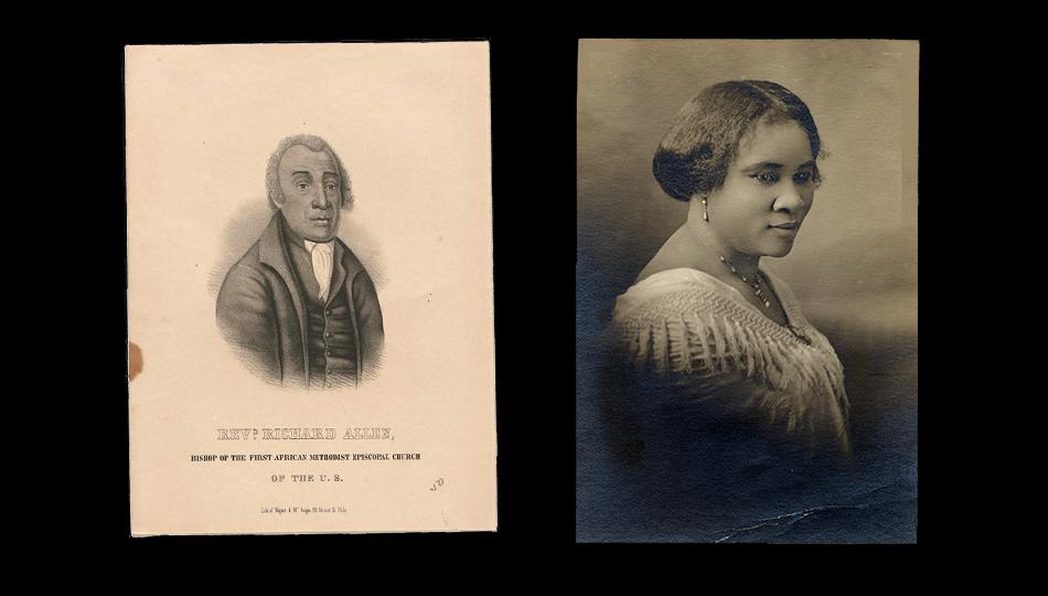 Lithograph of Bishop Richard Allen, 1847 and Portrait of Madam C. J. Walker, taken in 1915
