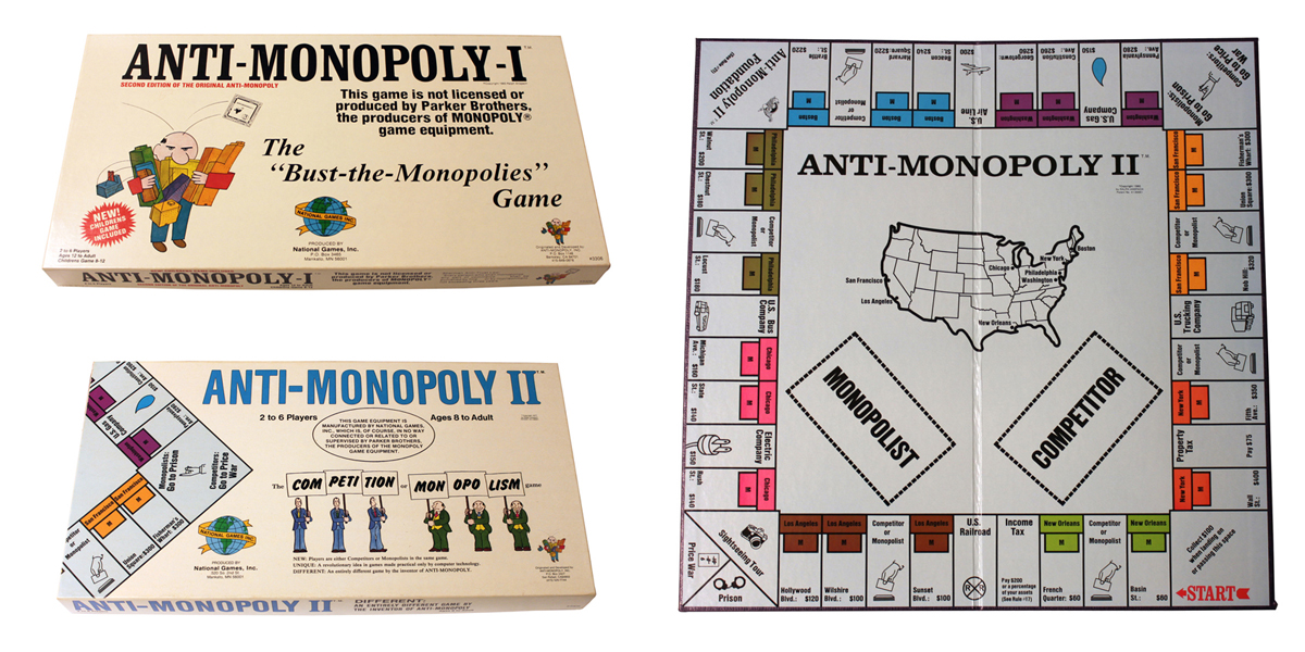 Collage of photographs, including the boxes for Anti-Monopoly I and II, as well as the Anti-Monopoly II board.