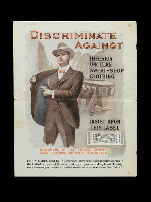 An ad where a man shows off his jacket and text talks about the dangerous of sweatshops.