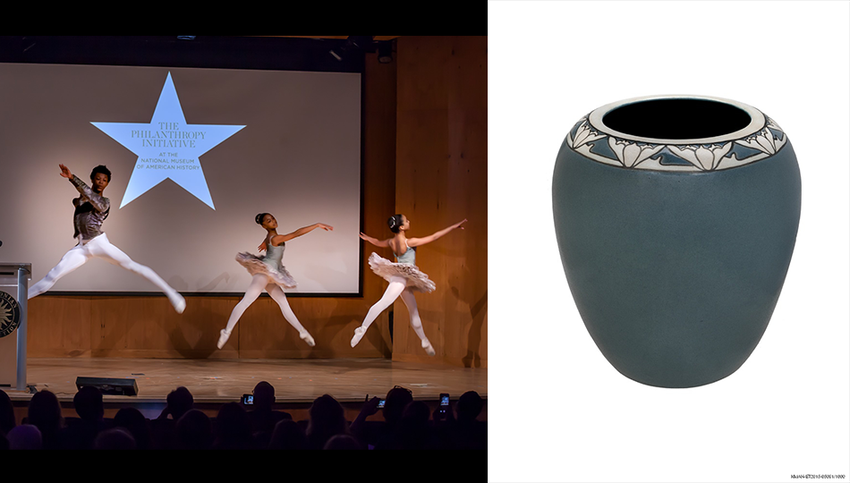 American Ballet Theatre Project Plié dancers Morocco Britt-El, Azrielle Smith, and Kelly Hicks perform at the 2018 Power of Giving symposium & Vase made by the Saturday Evening Girls, around 1908–1915