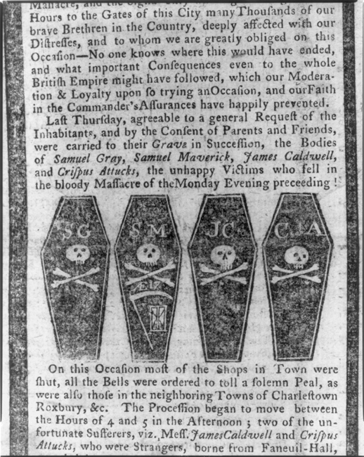 Multiple coffins at the bottom of a newspaper clipping with news of the Boston Massacre.
