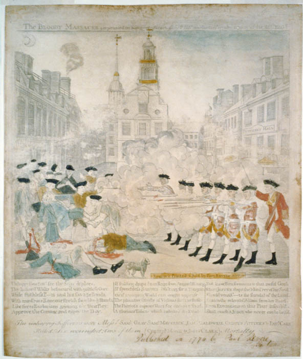 "Paul Revere (after Henry Pelham), ""The Bloody Massacre..."" (Boston: 1770). This rarer version of the image shows Johnson with a darker face. (Courtesy of Library of Congress)"