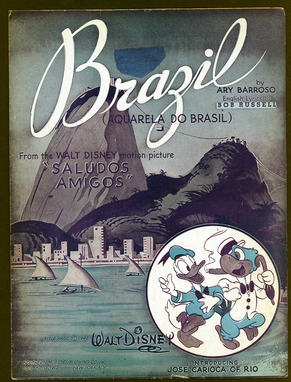 Sheet music featuring an island scene and Donald Duck
