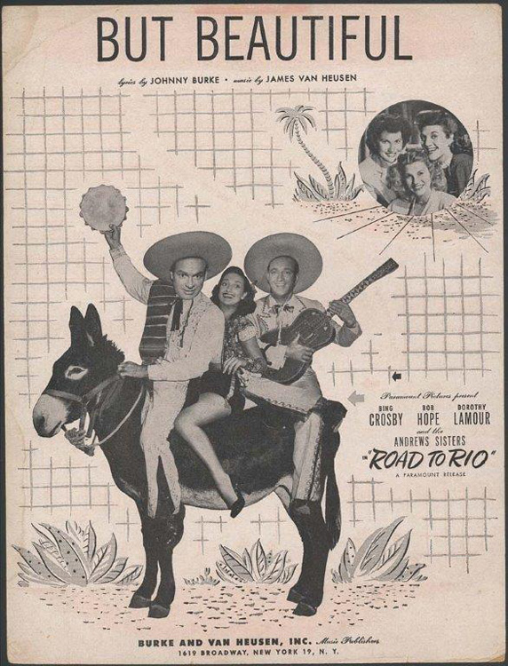 "Sheet music for ""But Beautiful"" showing three performers in costume sitting on a donkey"