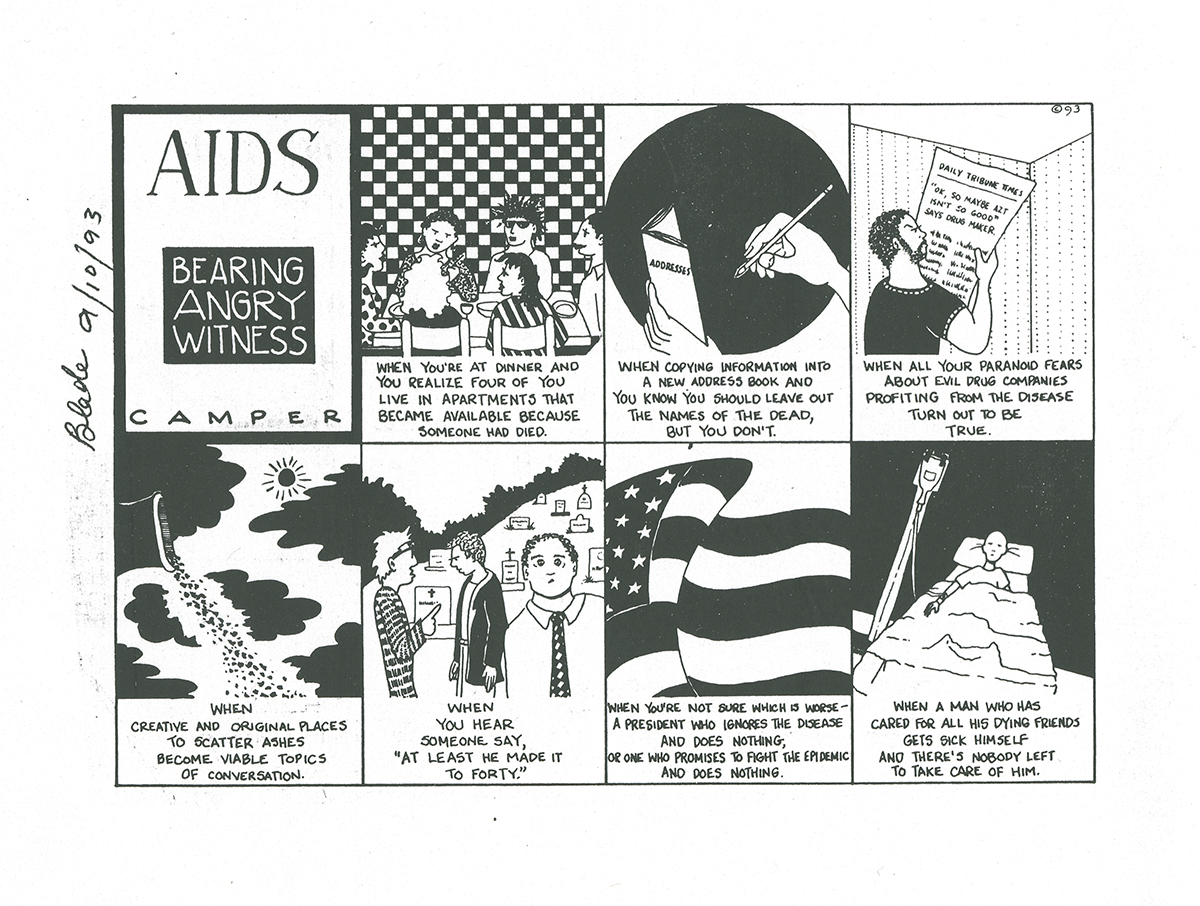 A black and white comic showing the effects of AIDs