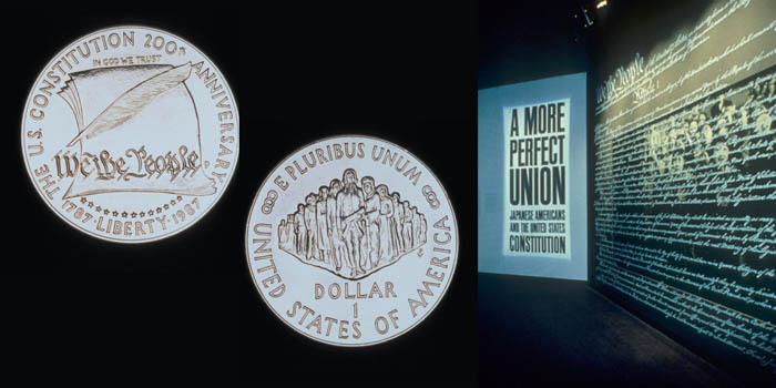 "A composite image showing two sides of a bicentennial coin, and the exhibit for ""A More Perfect Union."""