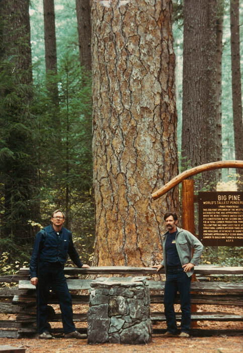 Two men stand in front of Big Pine.