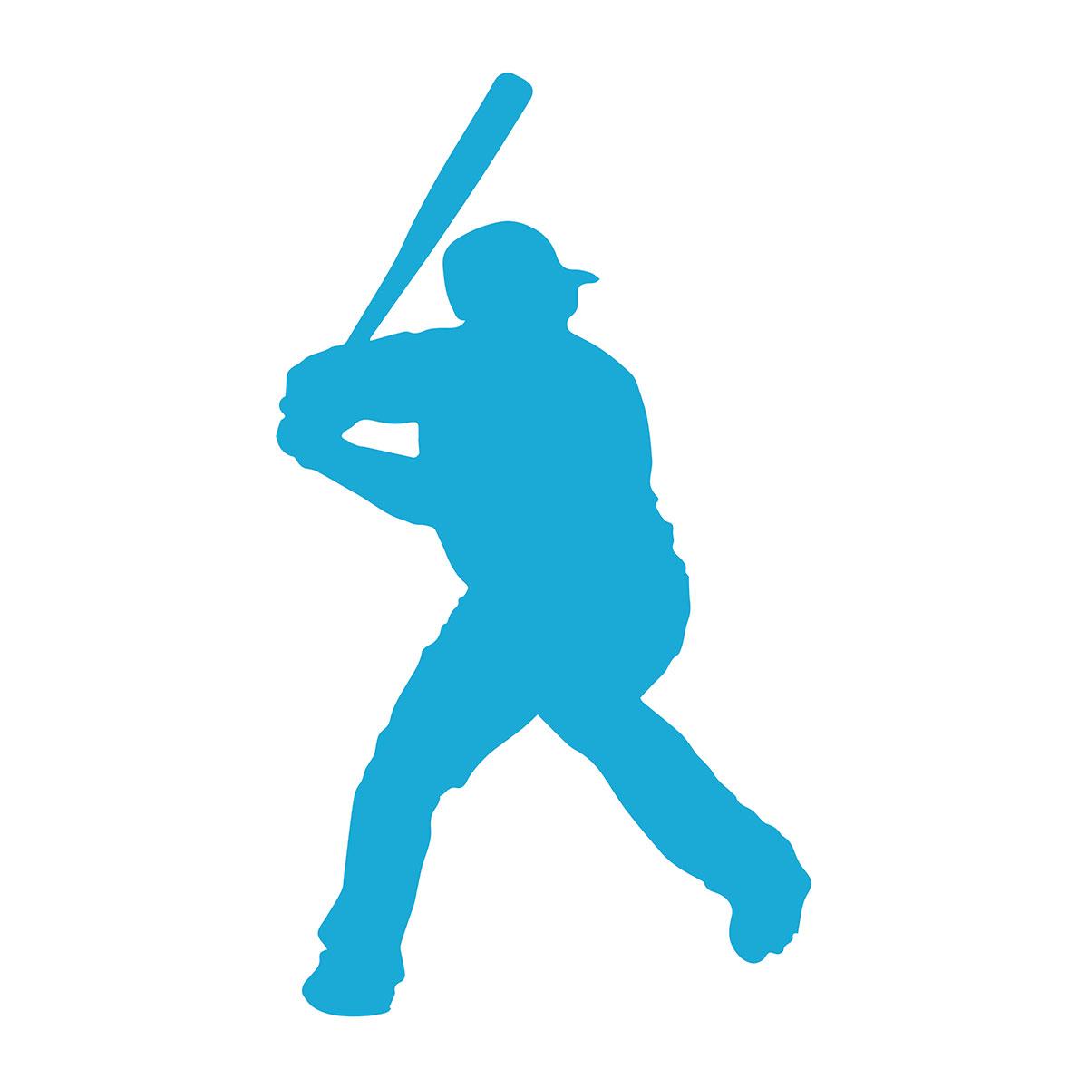 Silhouette of baseball player preparing to swing bat