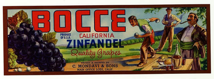 A label for Bocce Zinfandel with a individuals playing bocce ball, with a table at the front.