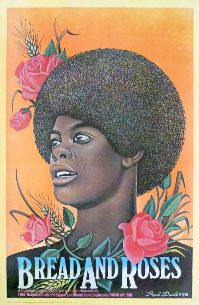 Illustration of an African America woman with an Afro hairstyle. Roses bloom around her hair and face. She looks positively into the distance.