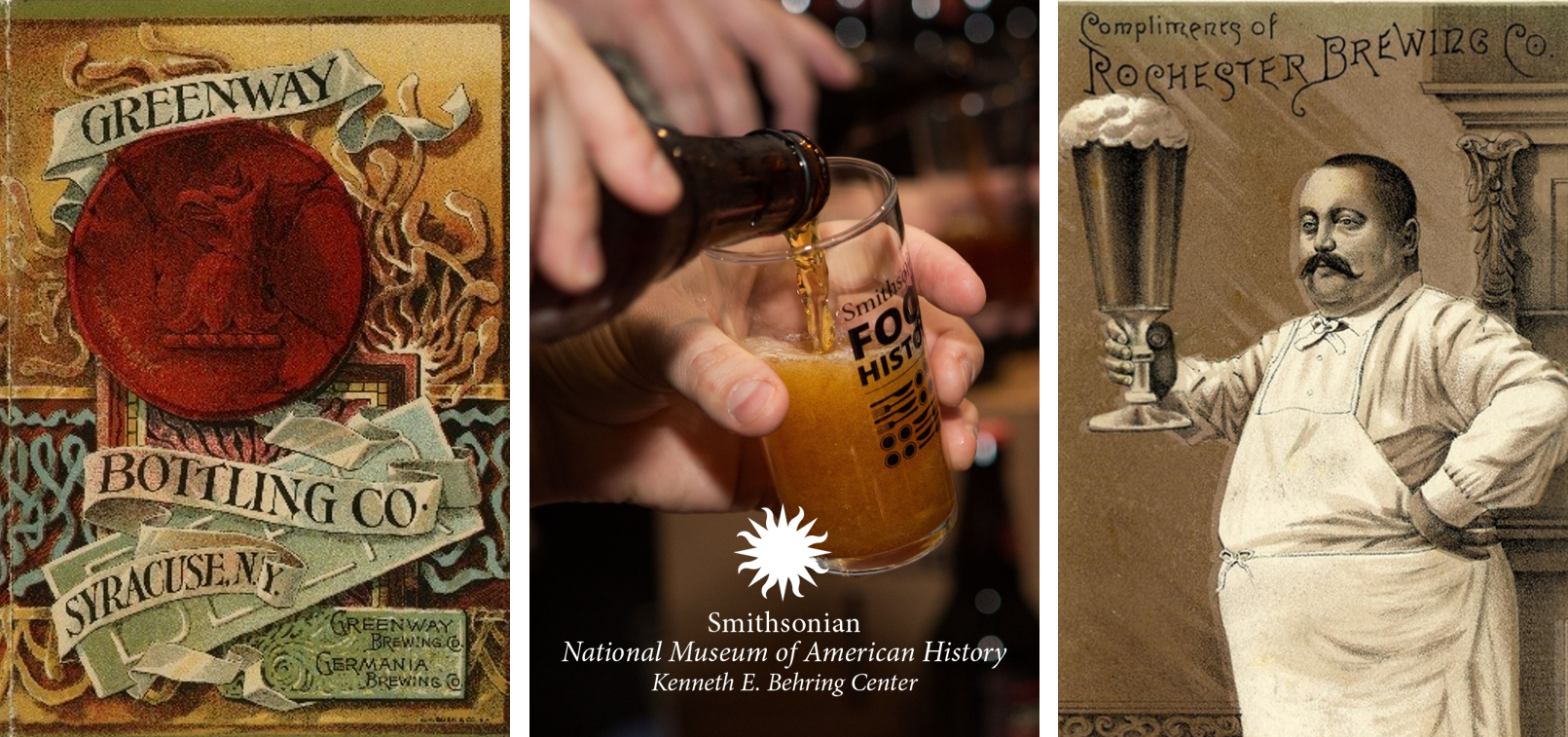 Brewing history objects and museum logo