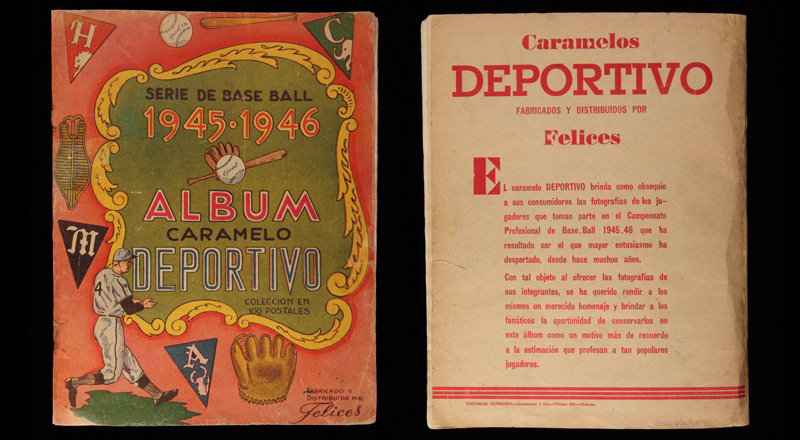 Cover of the Caramelo Deportivo baseball card album, after conservation. The cover is decorated with illustrations of player and related baseball ephemera