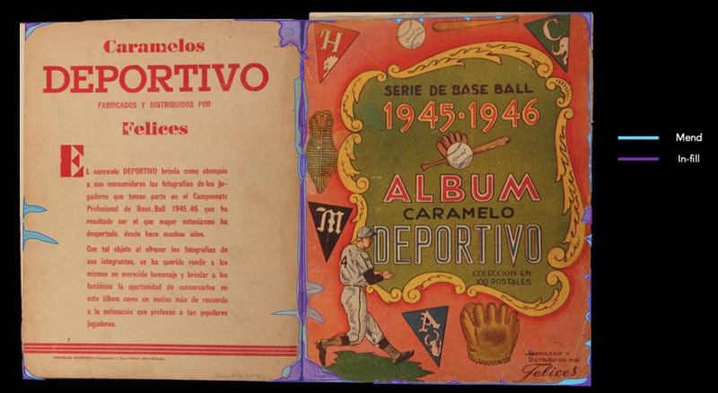 Diagram showing the cover of the Caramelo Deportivo album, with colors added to diagram where conservators would mend or in-fill the album with tissue