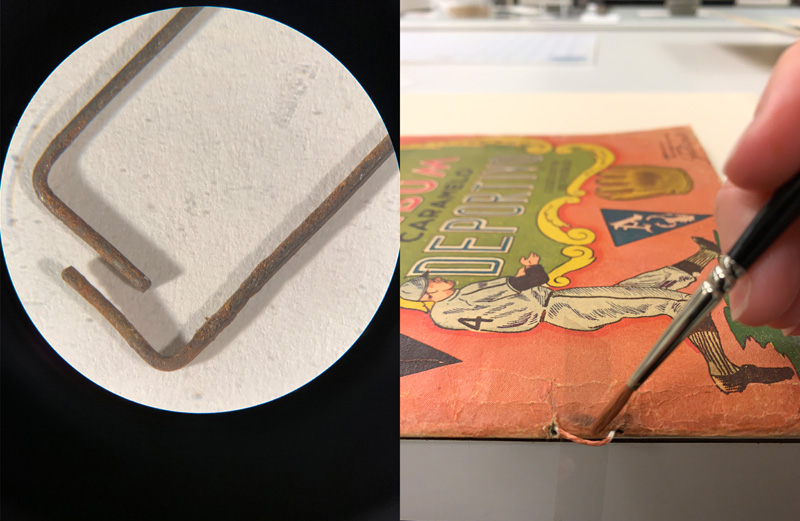 Left: rusty staples magnified under a microscope. Right: a conservator sews linen thread along the spine of the Caramelo Deportivo album