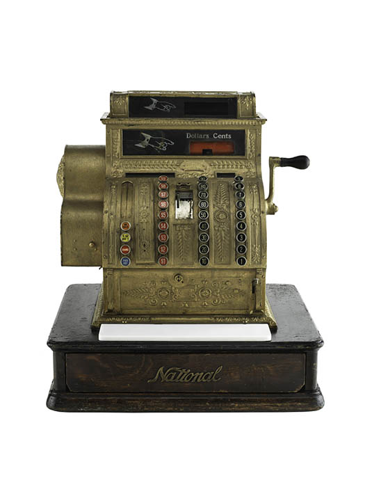 A golden cash register