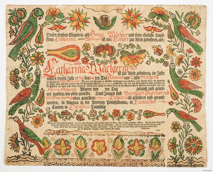 A hand drawn baptismal certificate decorated with birds and flowers.