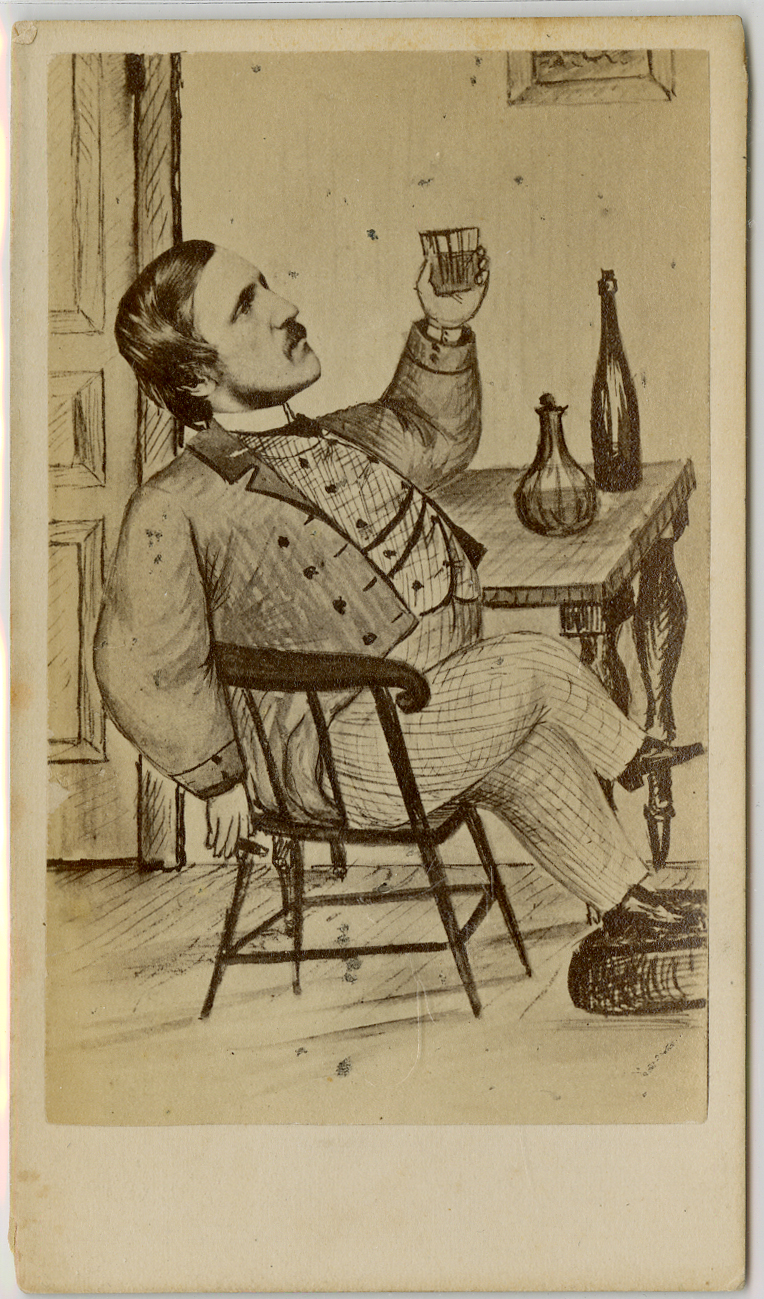 Man with sketched body and photo head sits in a wooden chair and holds a glass of liquid up