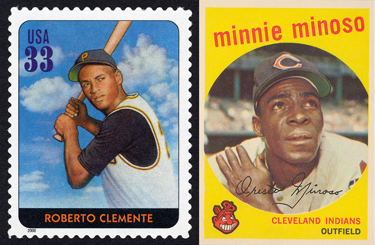 Left image is a Roberto Clemente stamp; right image is a Minnie Miñoso basball card