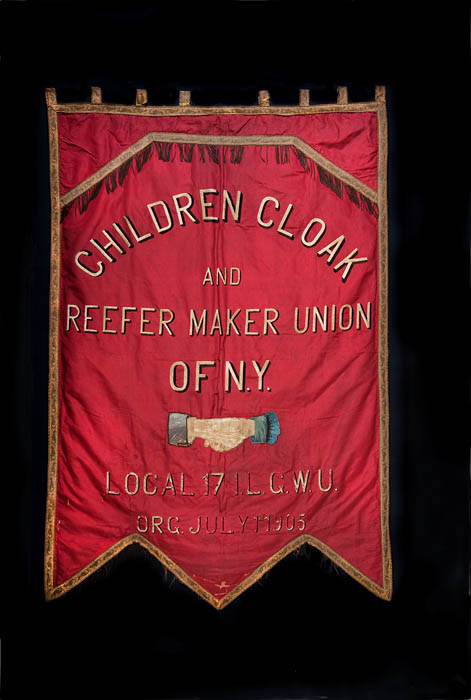 A red banner with a Union name on it.