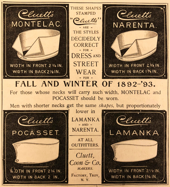 Advertisement showing four different collar styles