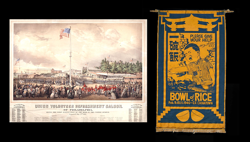 Union Volunteer Refreshment Saloon of Philadelphia & Bowl of Rice Party banner, 1940