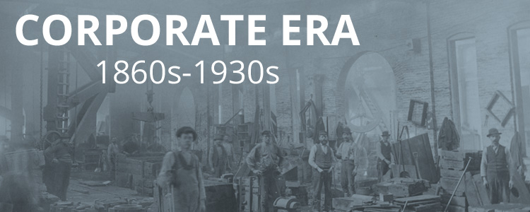 Picture of a factory workers with blue overlay and text, Corporate Era