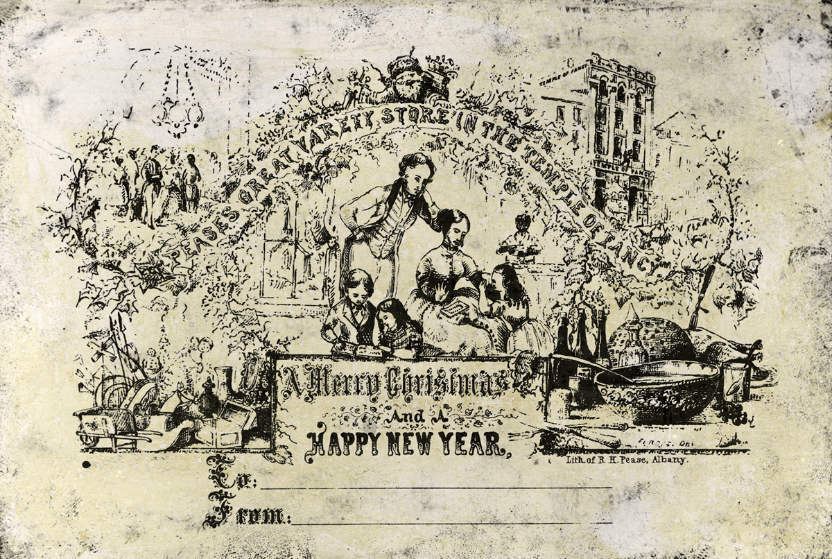 A black and white card showing an illustration of a family and a message of Merry Christmas.