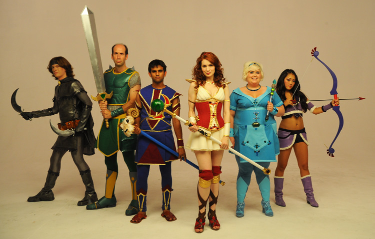 Cast of The Guild posing in full costumes