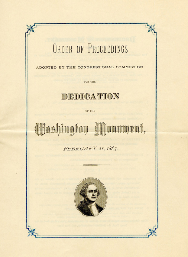 Pamphlet with small carton illustration of George Washington
