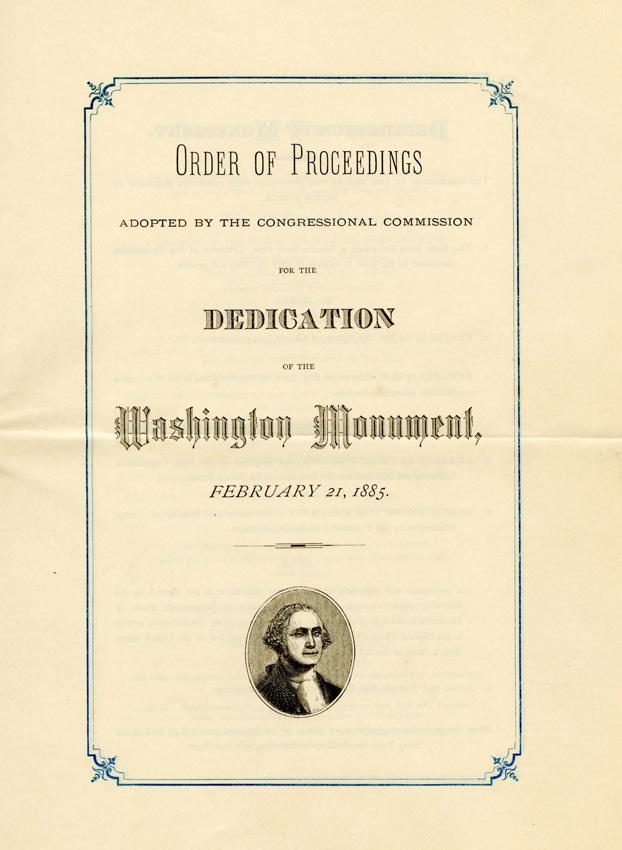 Pamphlet with small carton illustration of George Washington