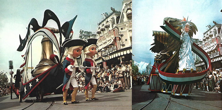 Collage of two photographs of floats