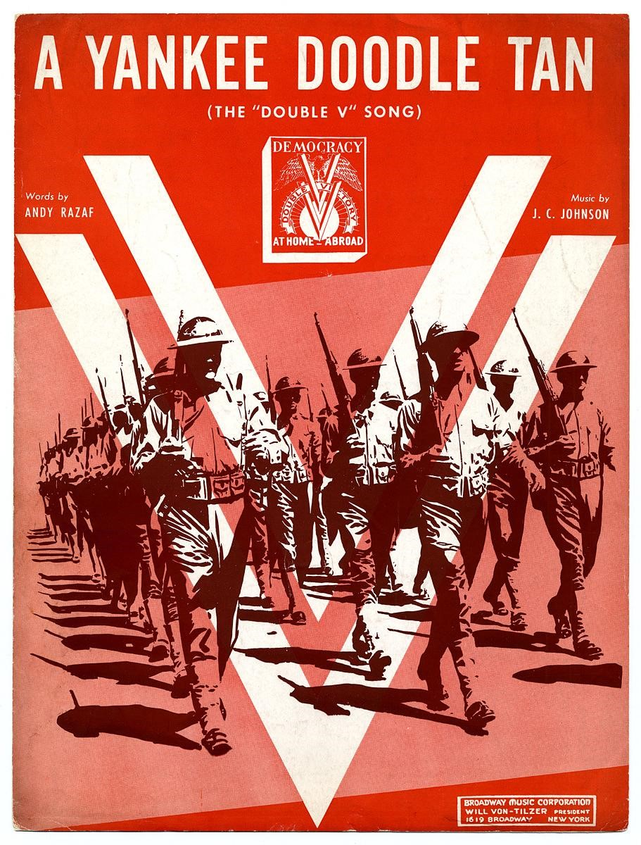 Sheet music cover with silhouette of marching soldiers and large V