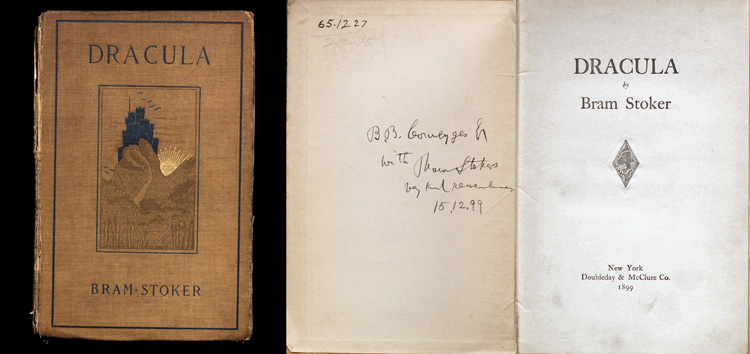 Two images. Left: Cover of Dracula with illustration of a castle on a hill. Right: Title page of Dracula with signature of Bram Stoker on adjacent page.