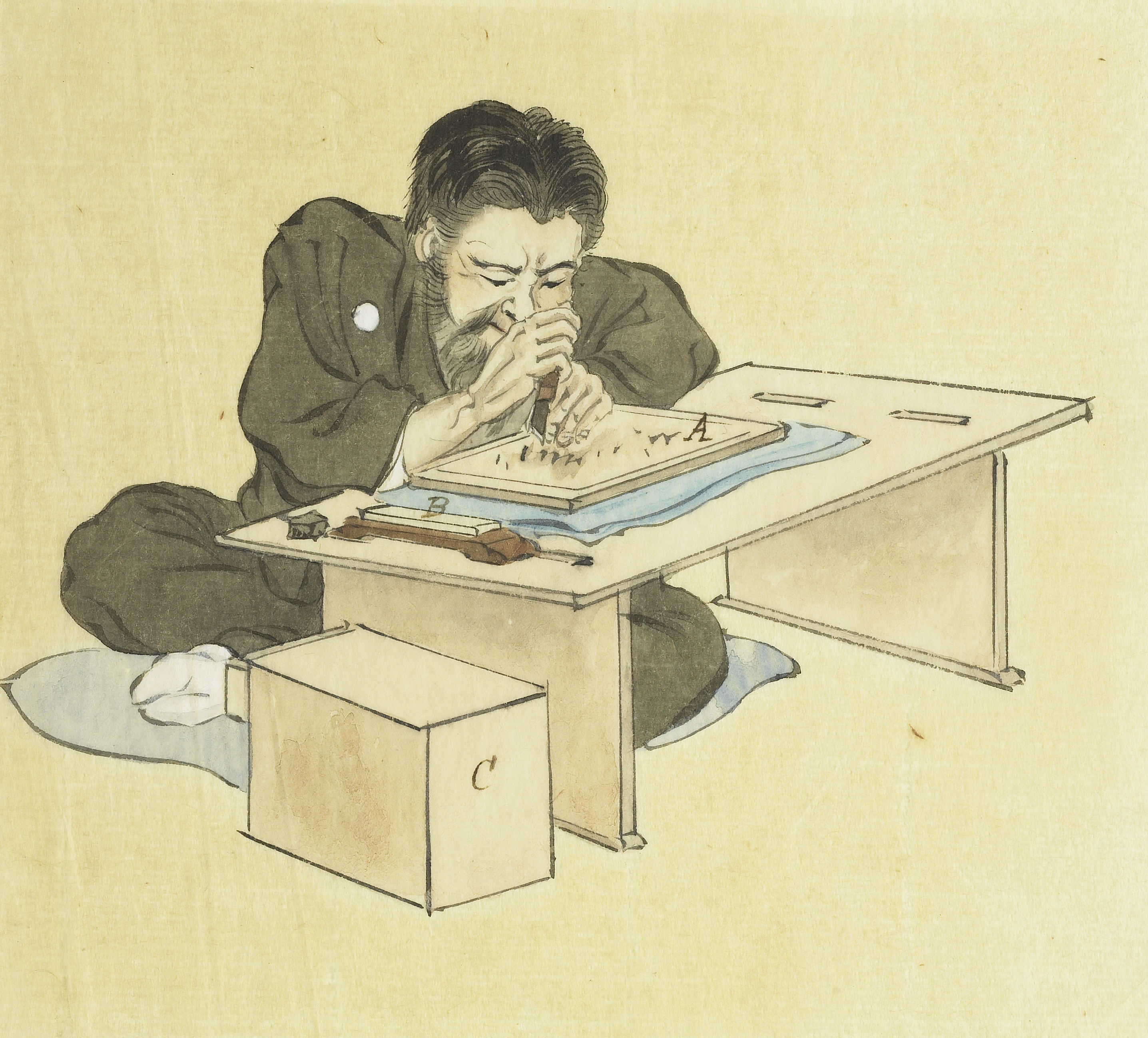 Watercolor illustration that accompanied the Tokuno gift showing the work of a Japanese blockcutter
