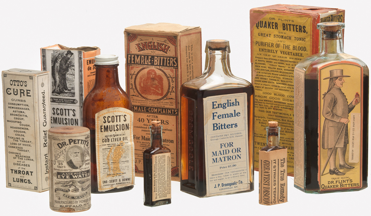 "Photograph of bottles and boxes used to market ""patent medicines"" in the late 1800s and early 1900s."