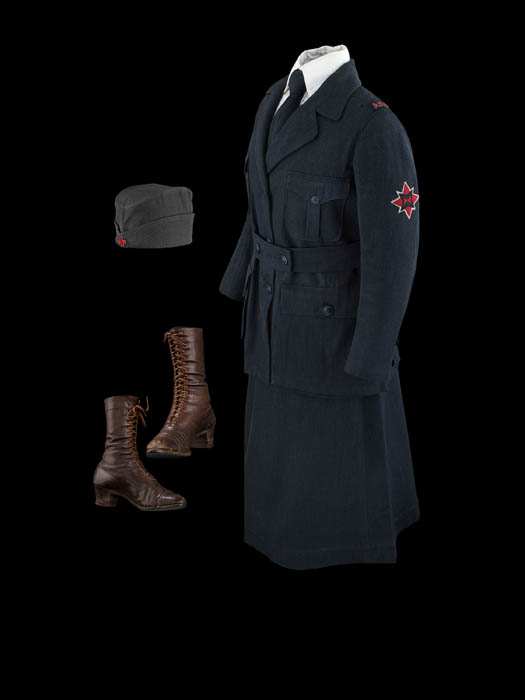 A blue uniform with boots and a hat.
