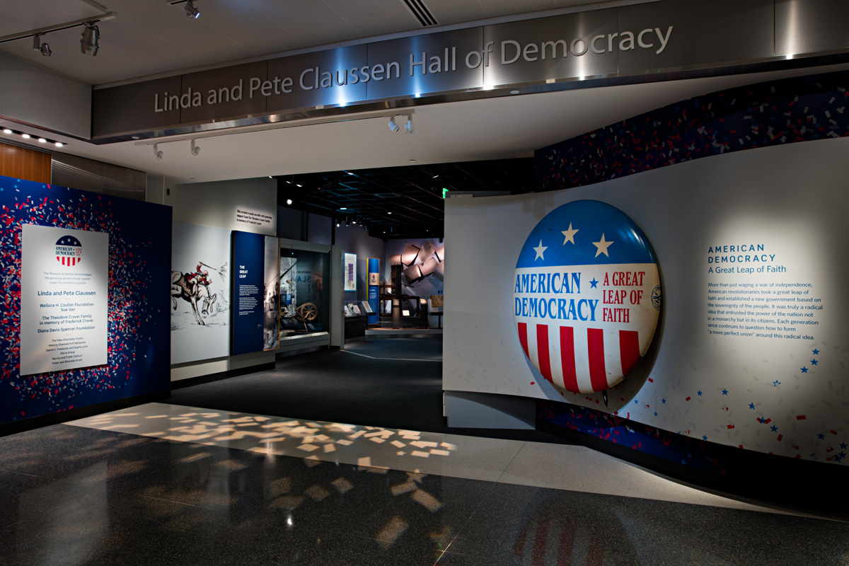 Exterior photograph of exhibition, American Democracy: A Great Leap of Faith