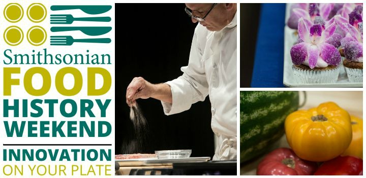 Food History Weekend 2015 logo and chef cooking