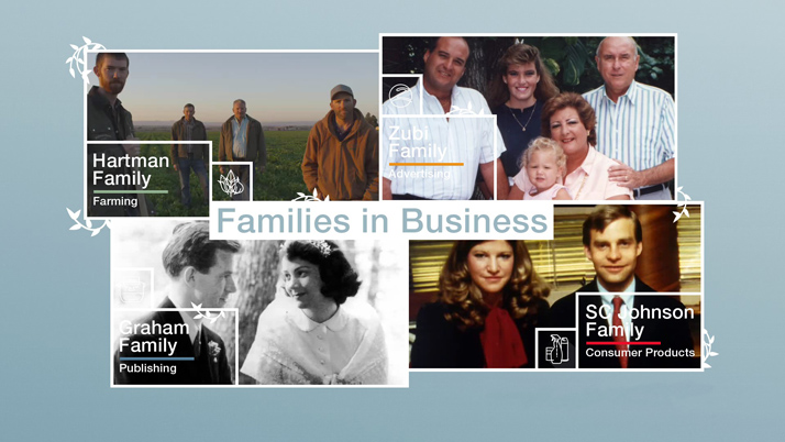 Logo with screenshots from videos in the Families in Business series of videos and link
